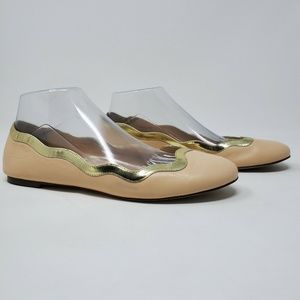 J Crew Flats Nude Scalloped Gold Patent Le…